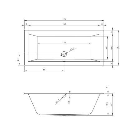 Cada rectangulara incastrabila Riho Lugo Velvet 170x75cm, acril, alb mat