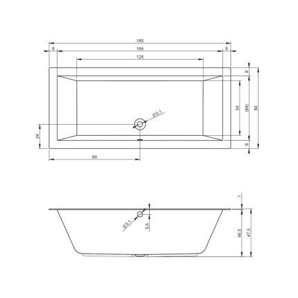 Cada baie rectangulara incastrabila Riho Lugo Velvet 180x80cm, acril, alb mat