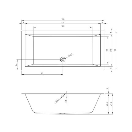 Cada baie rectangulara incastrabila Riho Lugo 190x90cm, acril