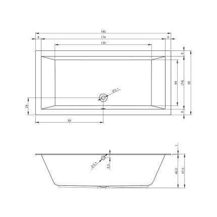 Cada rectangulara incastrabila Riho Lugo Velvet 190x90cm finisaj alb mat