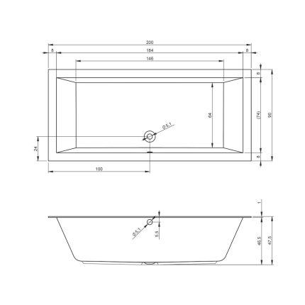 Cada baie rectangulara incastrabila Riho Lugo 200x90cm, acril