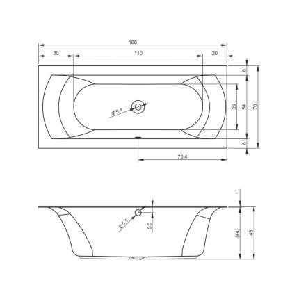 Cada baie rectangulara incastrabila Riho Linares 160x70cm, acril