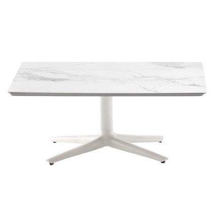 Masuta Kartell Multiplo Low design Antonio Citterio, 99x99cm, h43cm, blat cu finisaj marmura, alb
