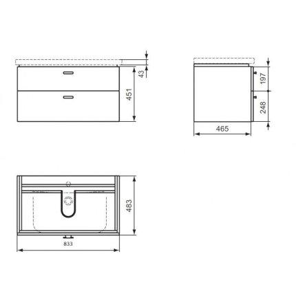 Set mobilier Ideal Standard Connect 85cm cu lavoar si dulap baza cu 2 sertare, stejar albit