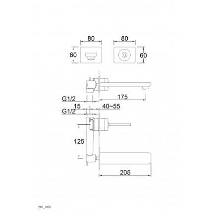 Baterie lavoar Steinberg Harmony seria 200 din 2 elemente, de perete, pipa 17,5 cm, levier joystick, fara ventil, corp ingropat inclus