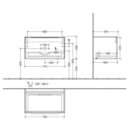 Dulap baza suspendat Villeroy & Boch Subway 3.0 cu iluminare, 78x44x46cm, Graphite