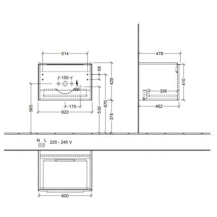 Dulap baza suspendat Villeroy & Boch Subway 3.0 cu iluminare, 62x43x48cm, Pure White