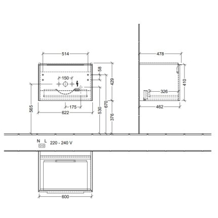 Dulap baza suspendat Villeroy & Boch Subway 3.0 cu iluminare, 62x43x48cm, Graphite