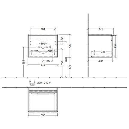 Dulap baza suspendat Villeroy & Boch Subway 3.0 cu iluminare, 57x44x46cm, Pure White
