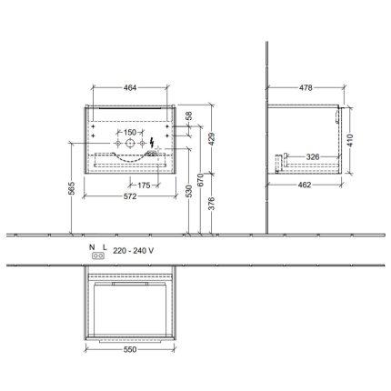 Dulap baza suspendat Villeroy & Boch Subway 3.0 cu iluminare, 57x44x46cm, Graphite