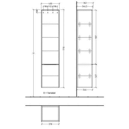 Dulap inalt suspendat Villeroy & Boch Subway 3.0 171x40x35cm, Graphite