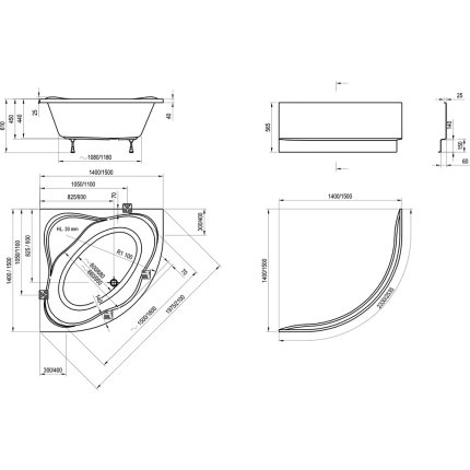 Cada baie de colt Ravak New Day 150x150cm, acril