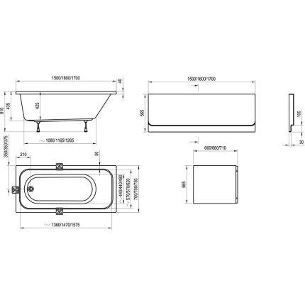 Cada rectangulara Ravak Concept Chrome 150x70cm, acril