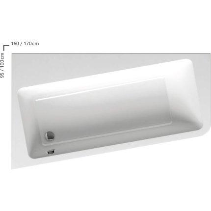 Cada asimetrica Ravak Concept 10° 160x95cm, acril, orientare dreapta