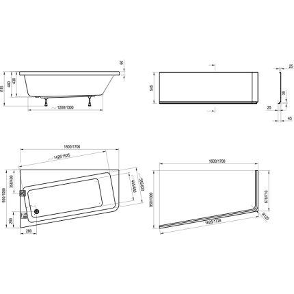 Cada asimetrica Ravak Concept 10° 170x100cm, acril, orientare stanga