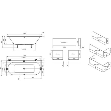 Cada rectangulara Ravak City Slim 180x80cm, alb