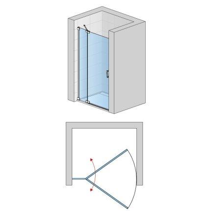 Usa de dus batanta cu parte fixa Sanswiss Cadura 120cm stanga, sticla securizata transparenta 6mm, profil slefuit lucios