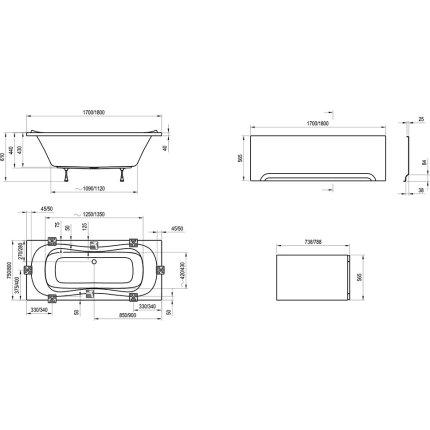 Cada rectangulara Ravak Campanula II 170x75cm, alb
