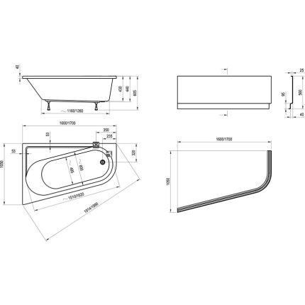 Cada asimetrica Ravak Concept Chrome 170x105cm, acril, orientare dreapta