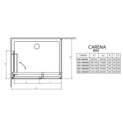 Cabina de dus dreptunghiulara Radaway Carena KDJ 120x90 cm orientare stanga