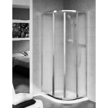 Cabina de dus semirotunda asimetrica Ideal Standard Connect Quadrant 75x95 sticla mata, profil argintiu