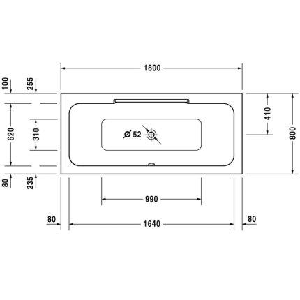 Cada baie rectangulara Duravit DuraStyle 190x90cm, acril, montaj incastrat sau cu panouri