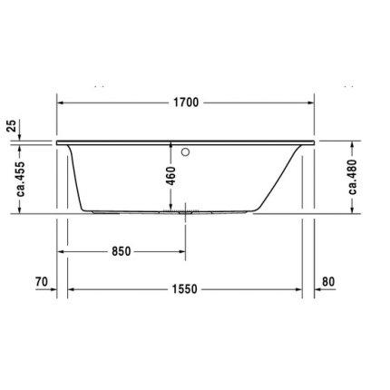Cada baie rectangulara Duravit Darling New 170x70cm, acril, orientare dreapta, montaj incastrat sau cu panouri