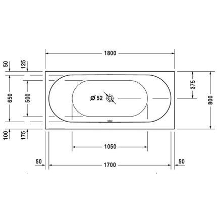 Cada baie rectangulara Duravit Darling New 180x80cm, acril, montaj incastrat sau cu panouri