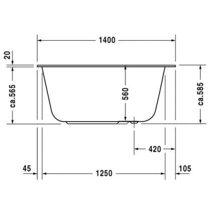 Cada baie rectangulara Duravit DuraStyle 140x80x56cm, acril, montaj incastrat sau cu panouri