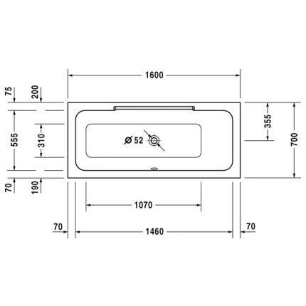 Cada de baie Duravit DuraStyle 1600x700mm orientare dreapta pentru montaj incastrat sau cu panouri