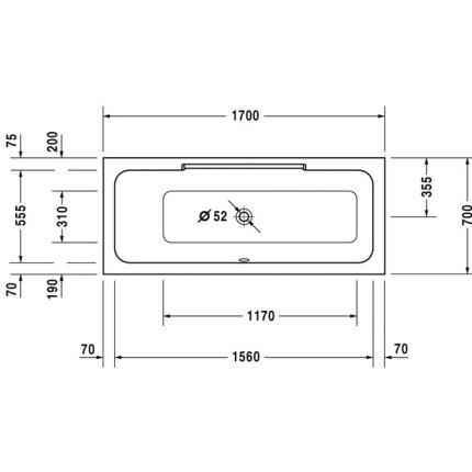 Cada rectangulara Duravit DuraStyle 170x70cm, orientare stanga, acril, montaj incastrat sau cu panouri