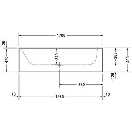 Cada baie rectangulara Duravit DuraStyle 170x75x34cm, acril, montaj incastrat sau cu panouri