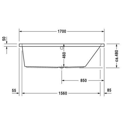 Cada rectangulara Duravit Vero 170x70cm, acril, spatar orientare dreapta