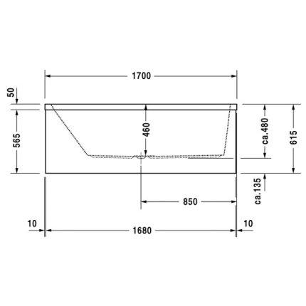 Cada baie rectangulara Duravit Vero 170x70cm, acril, spatar orientare stanga