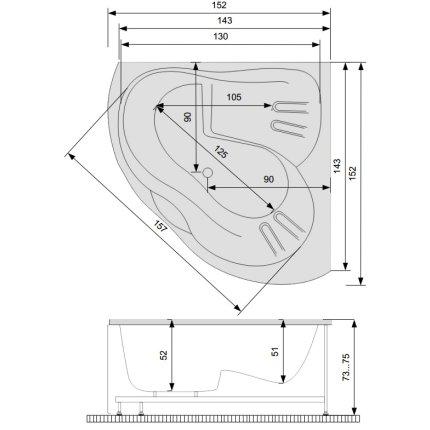 Cada baie de colt Belform Ziam 152x152cm, acril