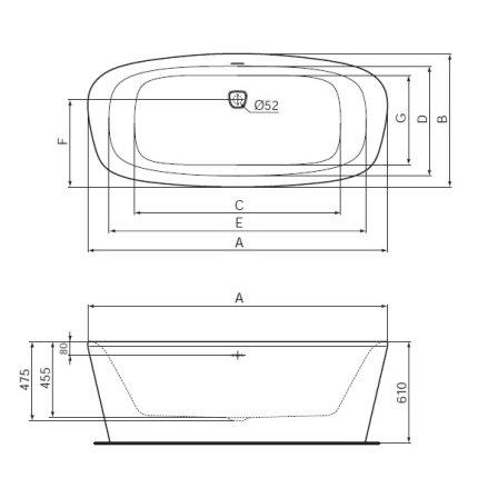 Cada free-standing Ideal Standard DEA DUO 190x90 cm, cu sifon tip push-open inclus