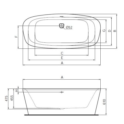 Cada free-standing Ideal Standard DEA DUO 180x80 cm, cu sifon tip push-open inclus