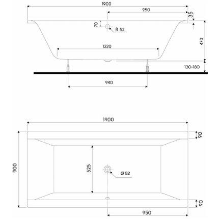 Cada baie rectangulara Kolo Clarissa 190x90cm, acril, picioare incluse