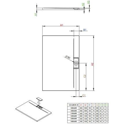Cadita de dus dreptunghiulara Radaway Giaros D 120x80 cm marmura compozita