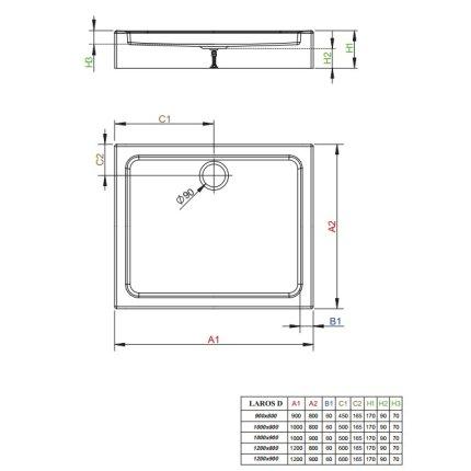 Cadita de dus dreptunghiulara Radaway Laros D 120x90 cm