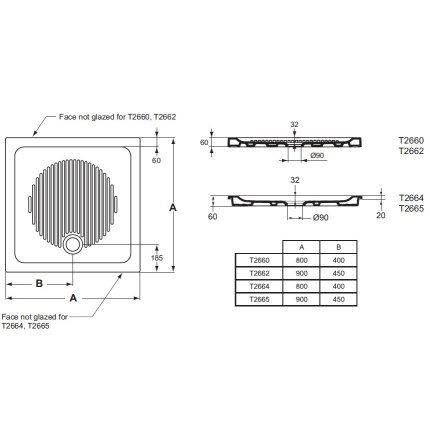 Cadita de dus patrata Ideal Standard Connect 80x80 pentru montare ingropata