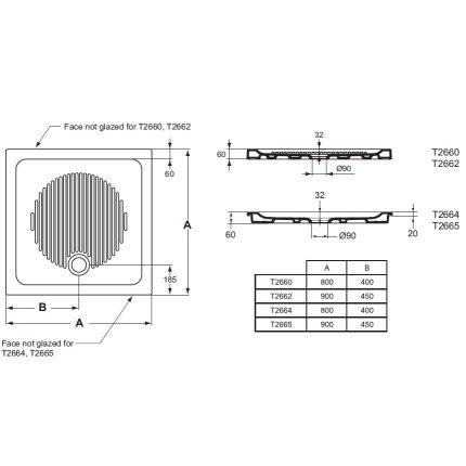 Cadita de dus patrata Ideal Standard Connect 90x90 pentru montare ingropata