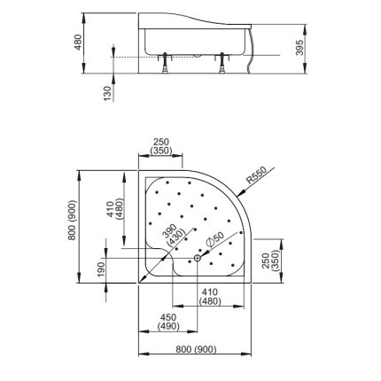 Cadita de dus semirotunda inalta Radaway Korfu A 80x80 cm