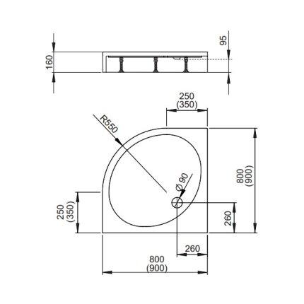 Cadita de dus semirotunda Radaway Patmos A Compact 80x80 cm