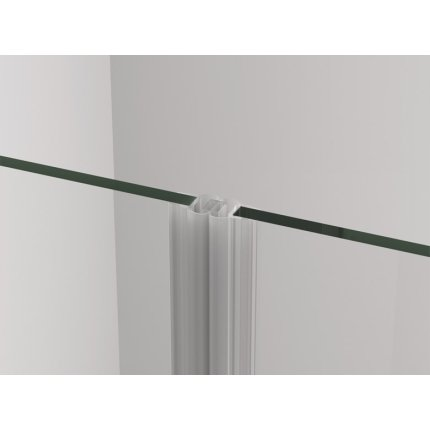 Usa de dus batanta cu parte fixa Sanswiss Cadura 140cm stanga, sticla securizata transparenta 6mm, profil slefuit lucios