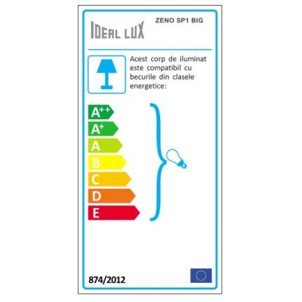 Suspensie Ideal Lux Zeno SP1 Big, 1x60W, 22x40-140cm, albastru