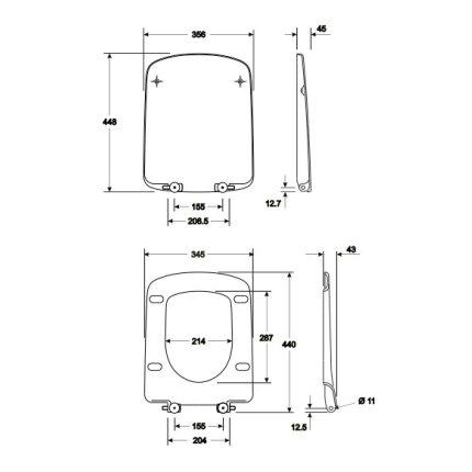 Capac WC Kolo Nova PRO rectangular, balamale inferioare