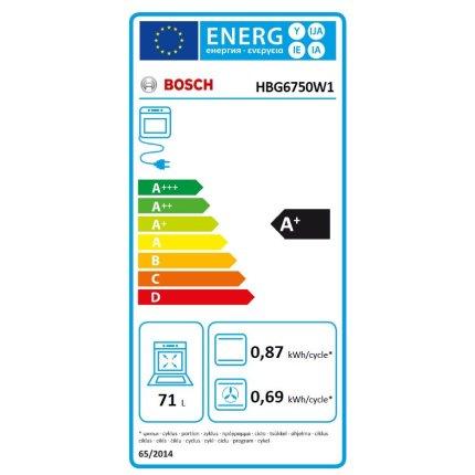 Cuptor electric incorporabil Bosch HBG6750W1 Serie 8, multifunctional 13 functii, 71 litri, autocuratare pirolitica, sticla alba
