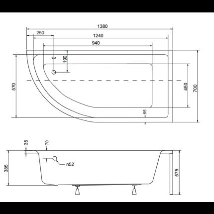 Cada baie asimetrica Besco Praktika 140x70cm, acril, orientare dreapta