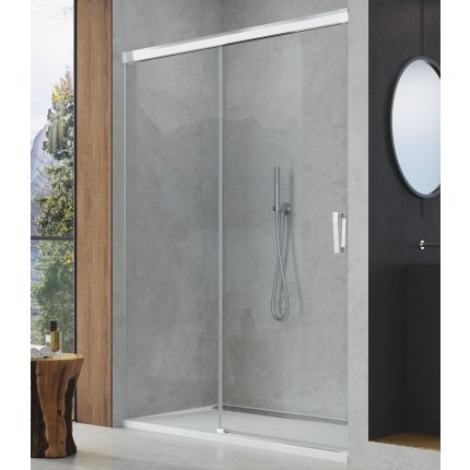 Usa de dus culisanta Sanswiss Cadura 180cm stanga, sticla securizata transparenta, profil slefuit lucios